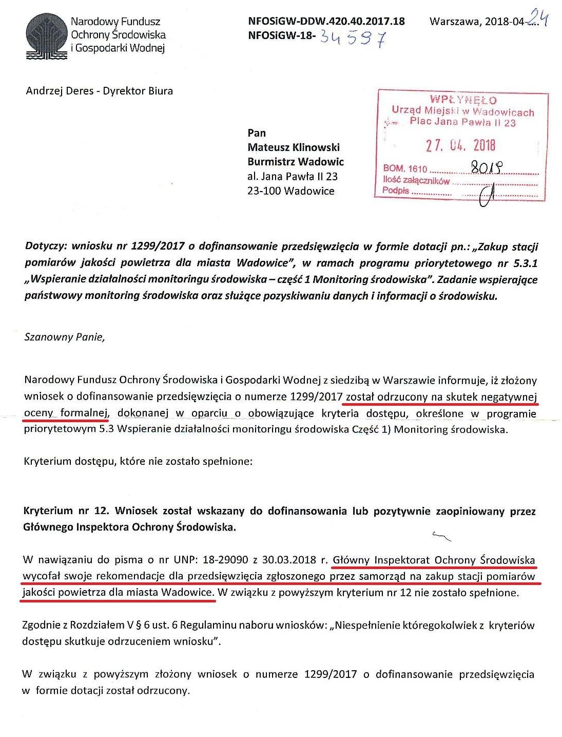 Informacja o tym, że nie spełniamy kryterium wstępnego oceny wniosku kilka miesięcy po jego ocenie